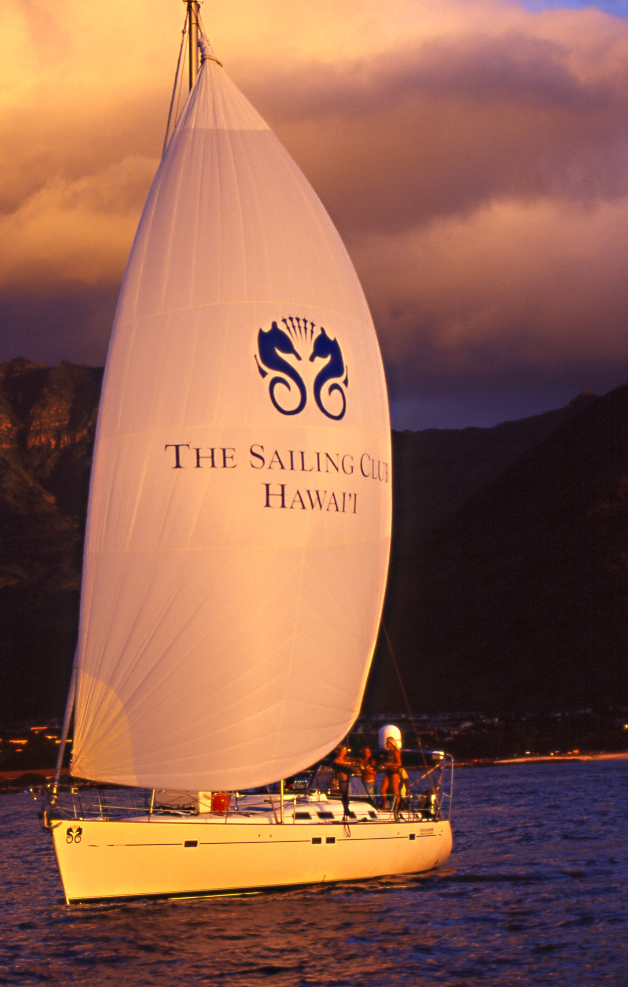 "The Hawaiian Presidential Sailing Yacht ""Elara"" at Sunset"