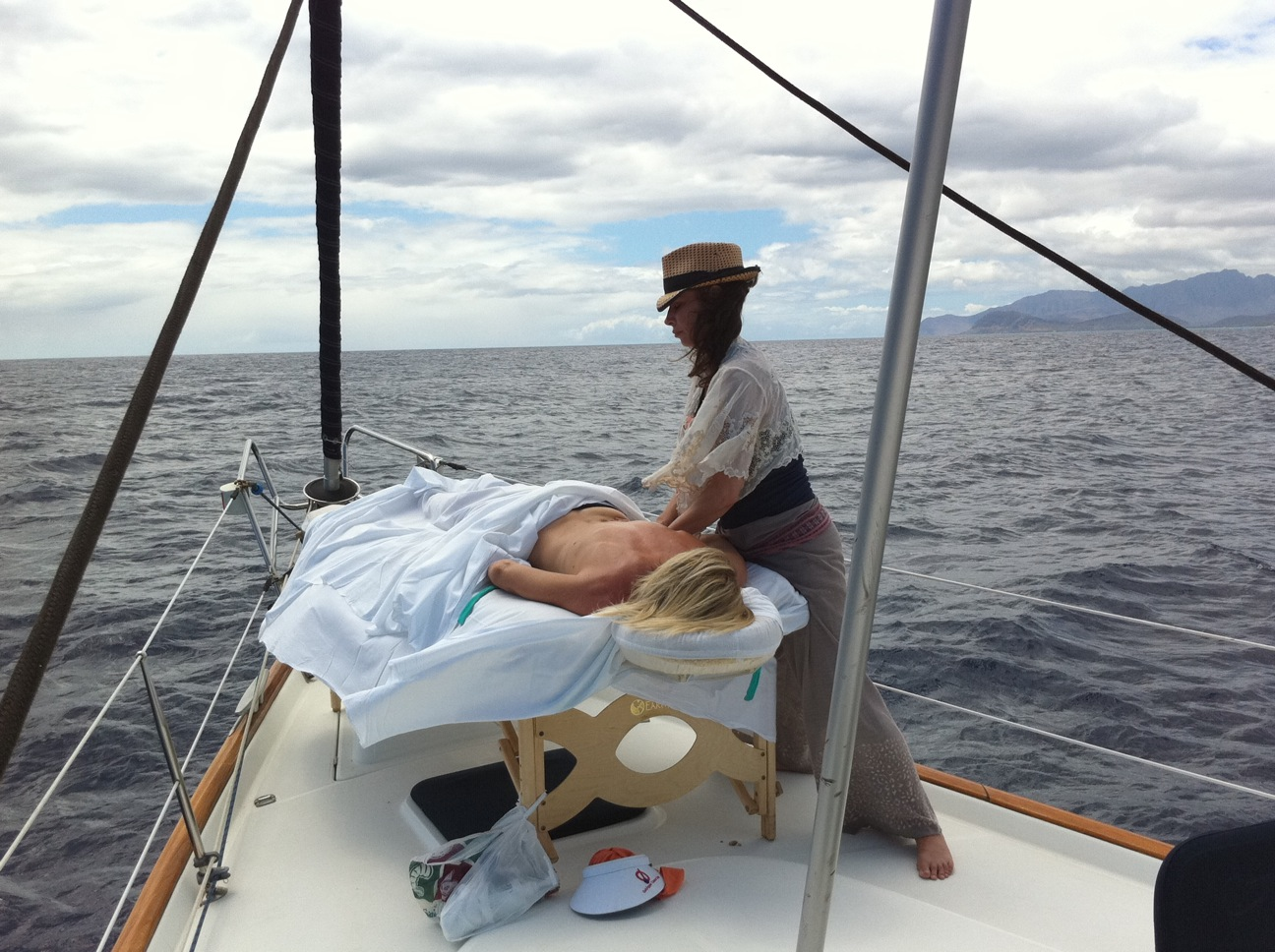 Massage on the bow of a Yacht in Hawaii